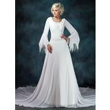 A-Line/Princess Scoop Neck Chapel Train Chiffon Wedding Dress With Ruffle Beading