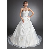 Ball-Gown Sweetheart Cathedral Train Taffeta Organza Wedding Dress With Ruffle Appliques Lace Flower(s)