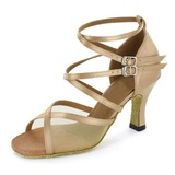 Women's Satin Fabric Heels Sandals Latin Salsa With Ankle Strap Dance Shoes