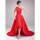 A-Line/Princess One-Shoulder Asymmetrical Taffeta Evening Dress With Ruffle