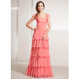 A-Line/Princess Sweetheart Floor-Length Chiffon Holiday Dress With Ruffle Lace (020014197)