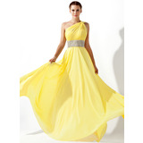 A-Line/Princess One-Shoulder Floor-Length Chiffon Prom Dress With Ruffle Beading (018020583)