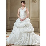 Ball-Gown Halter Chapel Train Taffeta Wedding Dress With Embroidery Ruffle Beading Sequins