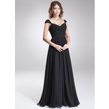 A-Line/Princess Sweetheart Floor-Length Chiffon Bridesmaid Dress With Ruffle Beading Sequins
