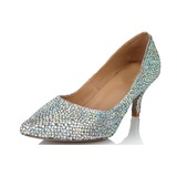 Real Leather Cone Heel Closed Toe Pumps With Rhinestone