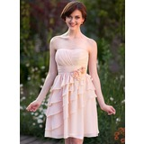 Empire Sweetheart Knee-Length Chiffon Bridesmaid Dress With Flower(s) Cascading Ruffles