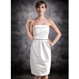 Sheath/Column Strapless Knee-Length Satin Bridesmaid Dress With Ruffle Beading