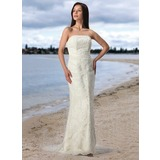 Sheath/Column Strapless Court Train Satin Tulle Wedding Dress With Lace