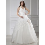 Ball-Gown Halter Floor-Length Organza Satin Tulle Wedding Dress With Beadwork Flower(s) (002015456)