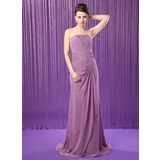 A-Line/Princess Strapless Sweep Train Chiffon Mother of the Bride Dress With Ruffle Beading Sequins