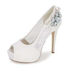 Women's Lace Stiletto Heel Peep Toe Pumps With Bowknot Rhinestone