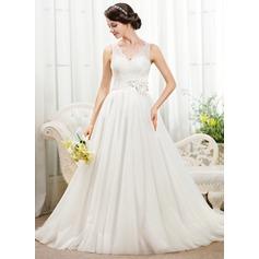 Duchesse-Linie V-Ausschnitt Kapelle-schleppe Tüll Spitze Brautkleid mit Perlen verziert Blumen Pailletten