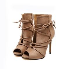 Frauen Samt Stöckel Absatz Peep Toe Stiefelette mit Geflochtenes Band Schuhe