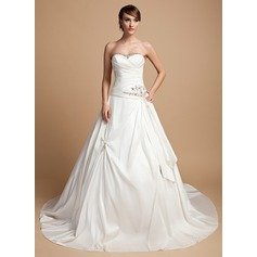 Ball-Gown Sweetheart Cathedral Train Taffeta Wedding Dress With Ruffle Beading Appliques Lace