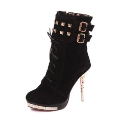 Women's Leatherette Stiletto Heel Pumps Platform Closed Toe Boots Ankle Boots shoes