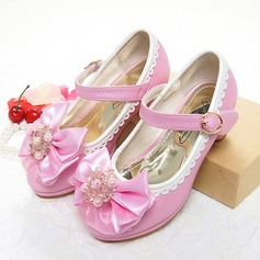 Girl's Leatherette Flat Heel Closed Toe Mary Jane With Bowknot Imitation Pearl