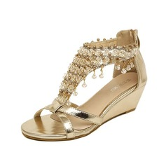 Leatherette Wedge Heel Sandals Pumps Peep Toe With Rhinestone shoes