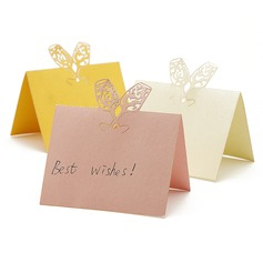 """""""Toasting Flutes"""" Laser Cut Pearl Paper Place Cards"""