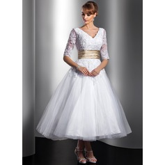 A-Line/Princess V-neck Tea-Length Tulle Wedding Dress With Sash Beading Appliques Lace