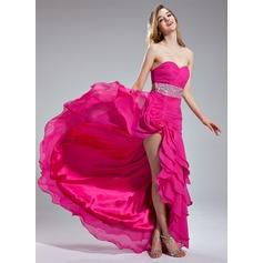 A-Line/Princess Sweetheart Asymmetrical Chiffon Prom Dress With Beading Sequins Cascading Ruffles