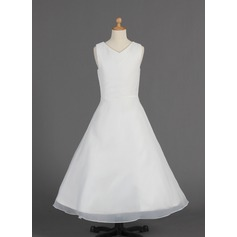 A-Line/Princess Floor-length Flower Girl Dress - Organza Sleeveless V-neck