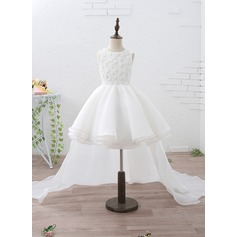 A-Line/Princess Knee-length/Court Train/Detachable Flower Girl Dress - Organza/Satin Sleeveless Scoop Neck With Beading/Appliques