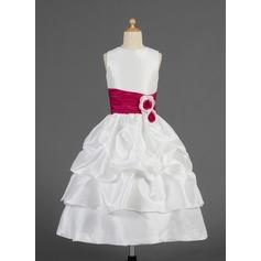 Forme Princesse Longueur mollet Robes à Fleurs pour Filles - Taffeta Sans manches Col rond avec Plissé/Ceintures/Fleur(s)/Ramassage Jupe