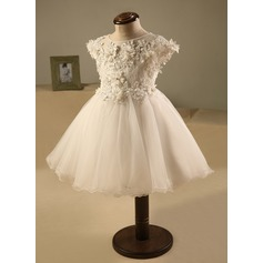 A-Line/Princess Knee-length Flower Girl Dress - Polyester/Cotton Sleeveless Scoop Neck With Ruffles/Beading/Flower(s)