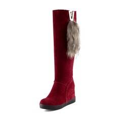 Suede Closed Toe Wedges Knee High Boots Snow Boots With Feather shoes