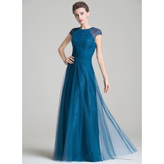 A-Line/Princess Scoop Neck Floor-Length Tulle Mother of the Bride Dress With Ruffle