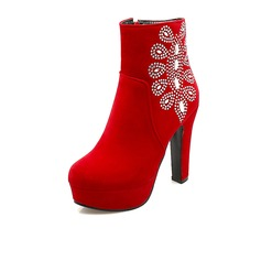 Suede Chunky Heel Platform Ankle Boots With Rhinestone Zipper shoes