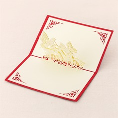 Three-dimensional Angel with wings Greeting Cards
