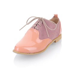 Patent Leather Flat Heel Flats Closed Toe With Lace-up shoes