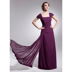 A-Line/Princess Square Neckline Floor-Length Chiffon Mother of the Bride Dress With Ruffle