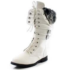 Women's Leatherette Flat Heel Boots Mid-Calf Boots With Buckle Lace-up shoes