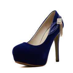 Women's Suede Stiletto Heel Pumps Platform Closed Toe With Bowknot Sequin shoes