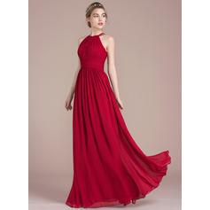 A-لاين أميرة عنق مدور الطول الأرضي الشيفون فستان وصيفة الشرف مع كشكش (007105587)
