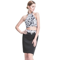 Sheath/Column Halter Short/Mini Lace Cocktail Dress With Sequins
