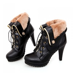 Women's Leatherette Stiletto Heel Pumps Closed Toe Wedges Boots Ankle Boots With Lace-up shoes