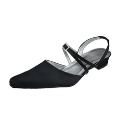Women's Satin Low Heel Closed Toe Slingbacks With Buckle