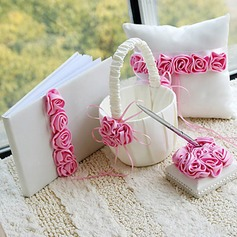 Luxury Wedding Collection Set in Satin With Pink Roses (4 Pieces)(100017981)