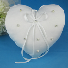 Heart Shaped Ring Pillow With Rhinestones