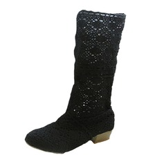 Women's Lace Low Heel Closed Toe Mid-Calf Boots shoes