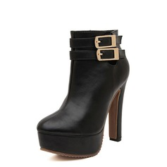 Leatherette Chunky Heel Pumps Platform Closed Toe Boots Ankle Boots With Buckle shoes