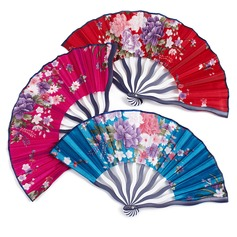 Floral Design Silk/Polypropylene Hand fan
