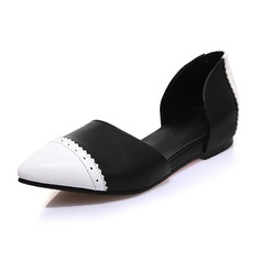 Real Leather Flat Heel Flats Closed Toe With Ruched shoes