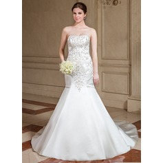 Trumpet/Mermaid Sweetheart Cathedral Train Satin Wedding Dress With Embroidered Beading Sequins