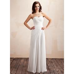 A-linjeformat Hjärtformad Golvlång Chiffong Bröllopsklänning med Rufsar