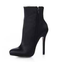 Satén Tacón stilettos Botas al tobillo con Cremallera zapatos