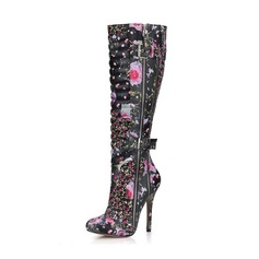 Women's Leatherette Stiletto Heel Pumps Closed Toe Boots Knee High Boots With Buckle Zipper Flower shoes